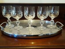 Bohemia Crystal Cut Crystal Wine Glasses x 5 Faceted Ball Stem 220mls