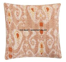 "Beige Kantha Decor Pillow Cover 16"" Bohemian Hippie Sofa Cushion Cover Gypsy"