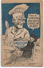 "1948 Comical Political Card "" Congressional Club Recipes "" Chef & Bear Cub"
