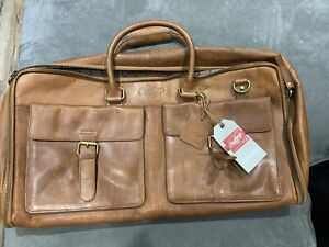 rawlings leather weekender bag with long strap