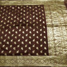 Vintage Banarasi Sari 100% Pure Silk Woven Zari Brocade Saree Fabric Burgundy