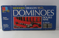 Dominoes Vintage Wooden Dragon Double Nine Set Milton Bradley 55 Pieces