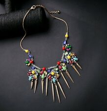 Rainbow,  gold & white crystal cluster fashion spiked statement fashion necklace