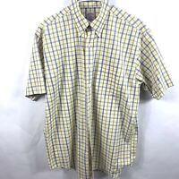 Brooks Brothers 360 Short Sleeve Shirt Mens Size Medium Yellow & Blue Striped