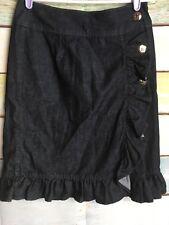 Anthropologie Leifsdottir Skirt Womens size 2 Blue Denim  Ruffled Pencil Buttons
