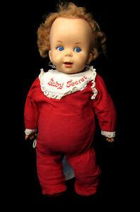 "USED: Creepy 1965 Vintage Mattel Baby Secret - 16"" Doll With Pull String. TALKS"