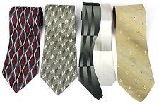 Arrow Lot of 4 Mens Necktie Tie Silk Geometric Red Gray L-58 60  W-4  NWOT