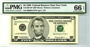 $5 1999 FEDERAL RESERVE STAR NOTE NEW YORK  F 1987 B * LUCKY MONEY VALUE $350