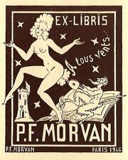 Satyr Erotik Exlibris Paul Morvan Bellows Erotic Nude French Humor 1946