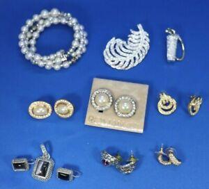 JS7 Lot of RMN Roman Company Earrings Brooches Bracelet Faux Pearl Rhinestones