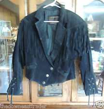 Vintage Womens Black Suede Fringe Jacket Western Motorcycle Biker Medium Laurice