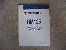 SUZUKI RM 125, BEDIENUNGSANLANLEITUNG, MANUEL D ENTRETIEN DU PROPRIETAIRE, 2007