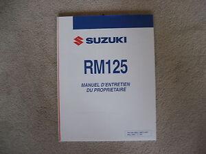 Suzuki RM 125, Notice D'Utilisation, Manuel D Entretien Vous Propriètaire, 2007