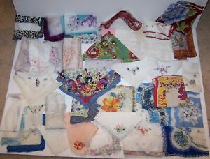 Antique Vintage Lot of 80 Handkerchiefs Embroidered, Silk, Crochet Linen, Print