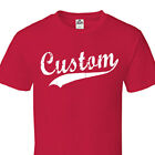 Custom Script & Tail Baseball Style T Shirt Personalized All Size & Colors C04