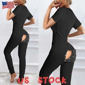Women Sexy Jumpsuit Pajamas V Neck Short Sleeve Button Romper Pajamas Sleepwear