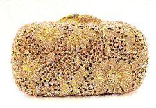New Gold Champagne Handmade Austrian Crystal Clutch Women Floral Evening Bag