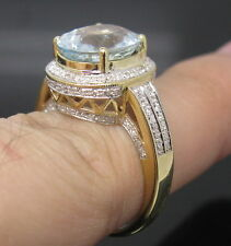 Solid 14K Yellow Gold Genuine Natural Sparkly Sky Blue AQUAMARINE Diamond Ring