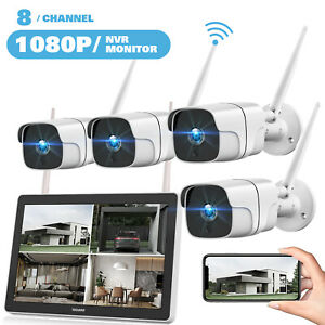 "TOGUARD WLAN Überwachungskamera 8CH 1080P 12"" Monitor NVR IP Kameras Fernzugriff"