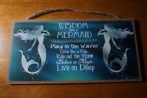 WISDOM FROM A MERMAID SIGN Nautical Blue Teal Tropical Beach Coastal Home Decor