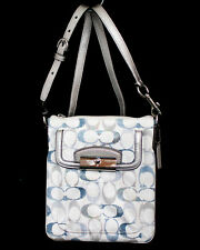COACH Kristen 47476 Embellished Signature Swingpack Sequin Crossbody Blue Silver