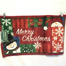 "18""x30"" Merry Christmas Snowman Welcome Mat / Doormat / Small Rug"