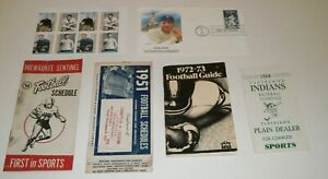 Vtg Sports Handbooks - Baseball Indians, Football Schedule, Ruth First Day Issue