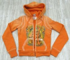 New! True Religion Women's Sweater Hoodie Drawstring Print ORANGE X-SMALL XS