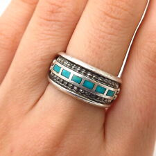 925 Sterling Silver Real Turquoise Inlay Bead Design Ring Size 6 3/4