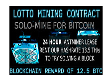 LOTTO Mining Contract Antminer Rental 13.5TH Bitcoin HASHING SOLO MINING 24 Hour