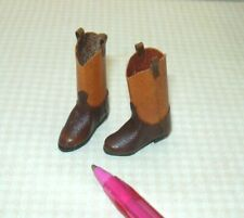 "Miniature ""Prestige Leather"" Cowboy Boots, TWO TONE: DOLLHOUSE 1/12"