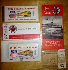 Vintage Train Tickets & Holder-Northern-Union-Southern Pacific & Milwaukee Road