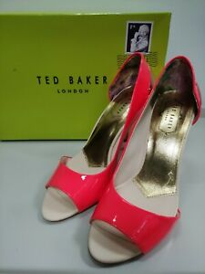 TED BAKER heels UK5 orange and rose gold, heel 10cm, vgc