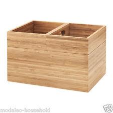 3-Piece IKEA DRAGAN Bamboo Bathroom Stackable Storage-Box Set UK-RV