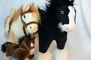3 Large Horse Plush Draft Horse Disney Brave Angus with saddle harness