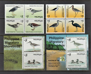 Philippine Stamps 1999 Migratory Shorebirds, Complete set incl. ovpt Souvenir sh