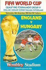 Football Programme>ENGLAND v HUNGARY May 1981 WCQR