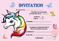 5 - 12 ou 14 cartes invitation anniversaire licorne réf 462