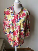 NWOT COUNTRY ROSE EWM Multi Floral Blouse Shirt Size 20 100% Cotton Summer