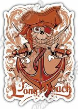 "Long Beach Pirate Skull Anchor Ocean Gift Car Bumper Vinyl Sticker Decal 4""X5"""