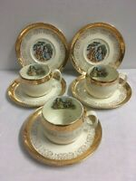 Lot of 8 CREST O GOLD by Sabin 3 Cups & 5 Saucers Warranted 22K Courting Couple