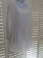 AMERICAN VINTAGE ~ White Tunic style floaty blouse/top ~ Size L fits UK 14-16