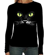 Velocitee Ladies Long Sleeve T-Shirt Yellow Eyes Cat Face Fashion Feline A7268