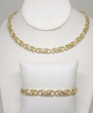 14K Yellow Gold Stampato Link Necklace & Bracelet Set