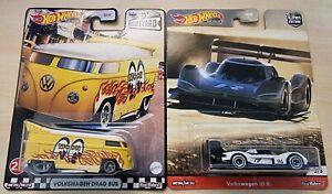 Hot Wheels Car Culture 2021 VW Drag Bus Mooneyes & VW ID R