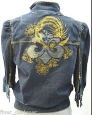 Dereon Jean Jacket Blue denim zip GOLD metallic 3/4 Sleeve light coat JR M NEW