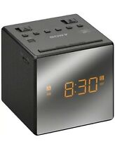 Sony AM/FM Black Cube Dual Alarm Clock Radio Auto Time Set DST