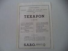 advertising Pubblicità 1947 SABO TEXAPON PRODOTTI CHIMICI BOTTAZZI - BERGAMO