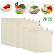 7X Eco Reusable Organic Cotton Mesh Bag Food Storage Shopping Bags Grocery Pouch