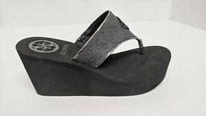 Guess Solene Wedge Sandals, Black, Women's 7 M